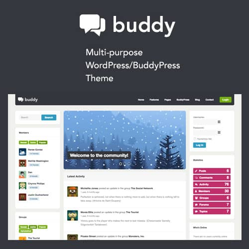 Buddy Simple WordPress BuddyPress Theme