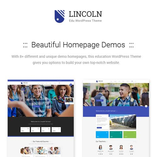 Lincoln Education Material Design WordPress Theme