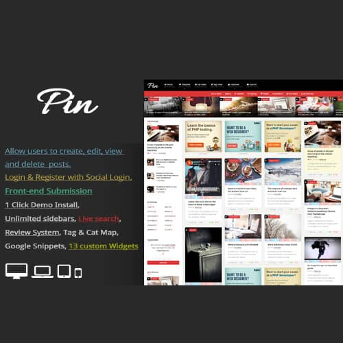 Pin = Pinterest Style Personal Masonry Blog Front-end Submission