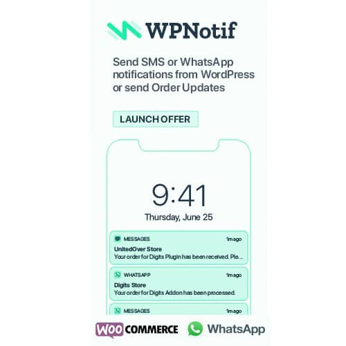 WPNotif WordPress SMS & WhatsApp Message Notifications